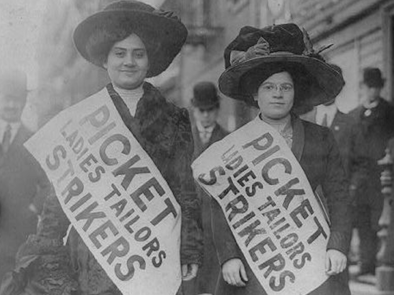Imager of two women on picket line